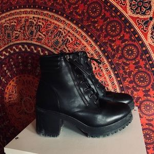 Black Lace up booties with thick heel